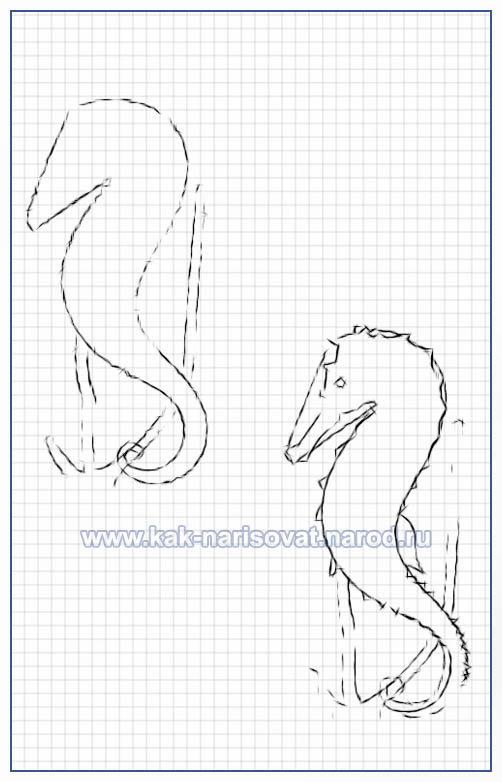 Учимся рисовать морских коньков