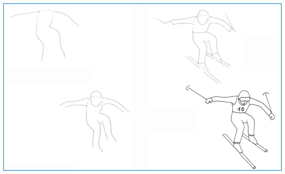 Рисуем человека на лыжах