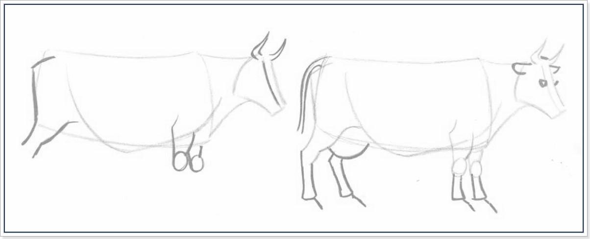 учимся рисовать корову