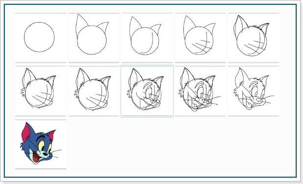 Учимся рисовать Тома из мультфильма