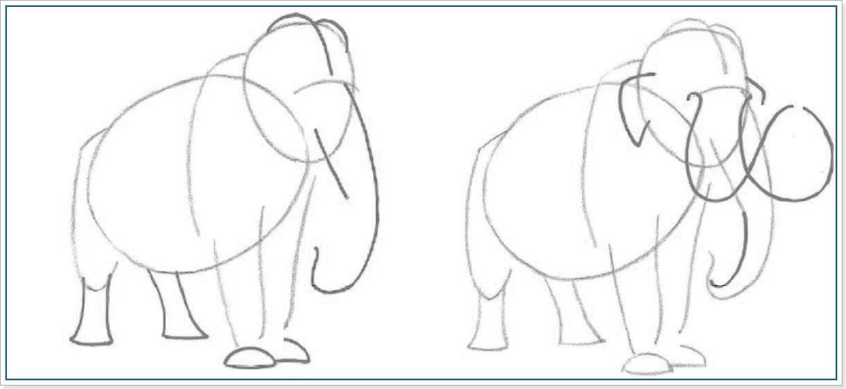 как нарисовать мамонта