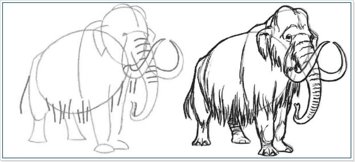 рисуем мамонта карандашом