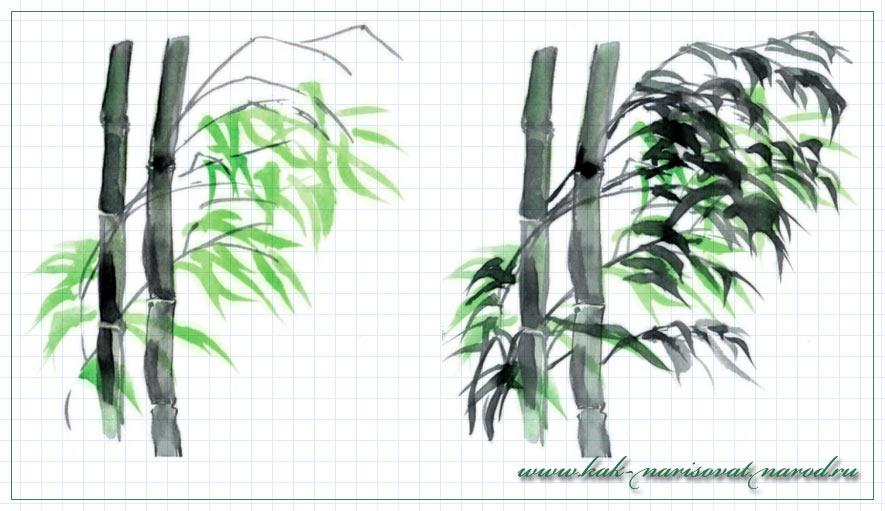 Поэтапное рисование восточного пейзажа с бамбуком