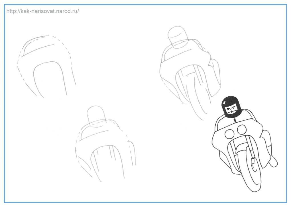 Как рисовать мотоциклиста - пример нарисованных мотоциклистов в картинках