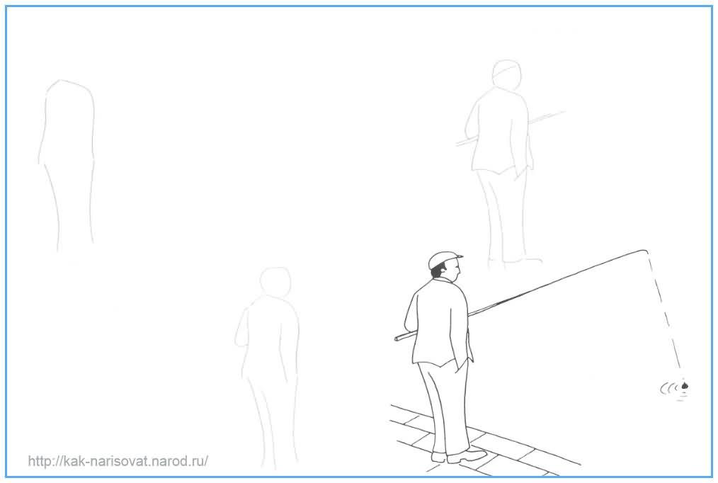Как рисоывать рыбака