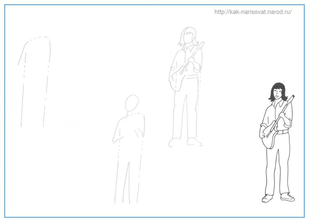 Учимся рисовать в картинках - пример рисования гитариста карандашом