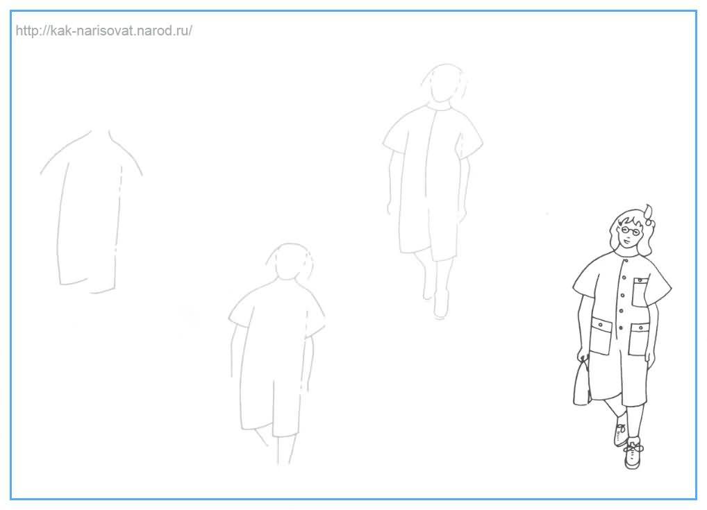 Как рисовать школьницу девочку карандашом поэтапно