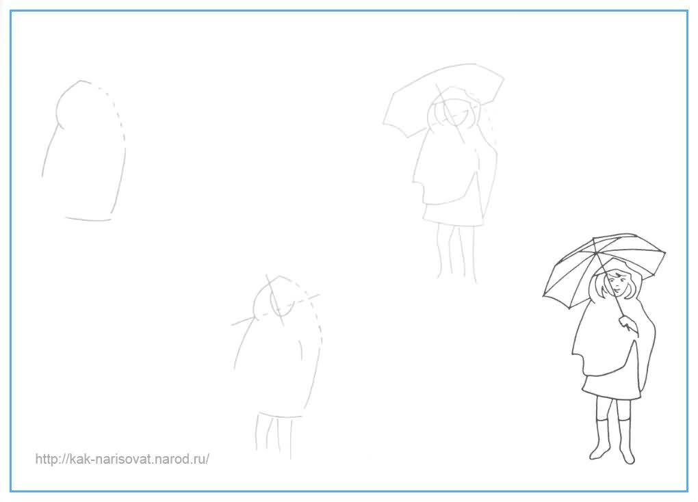 Учимся рисовать девочку карандашом поэтапно - примеры в картинках