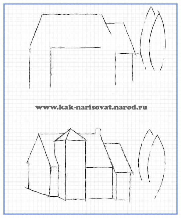 Учимся рисовать дом карандашом