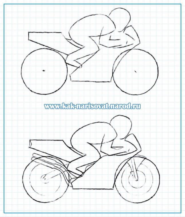 Рисуем поэтапно карандашом мотоцикл и гонщика