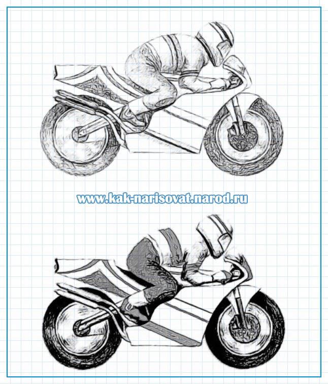 Поэтапное рисование мотоцикла и гонщика карандашом