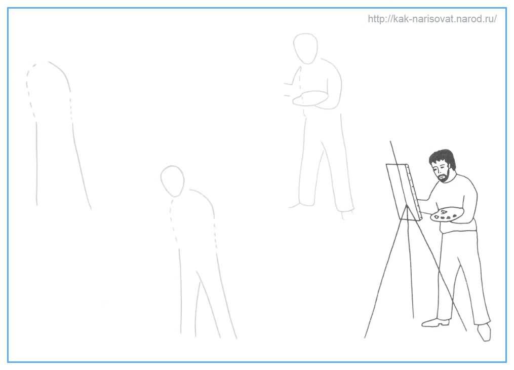 Как рисовать художника поэтапно