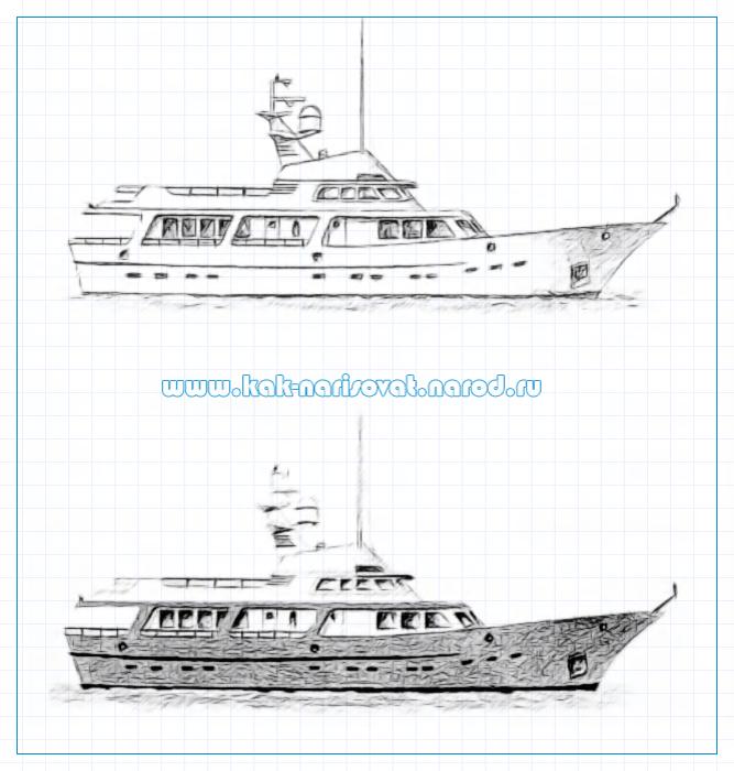 Как рисовать яхту или корабль