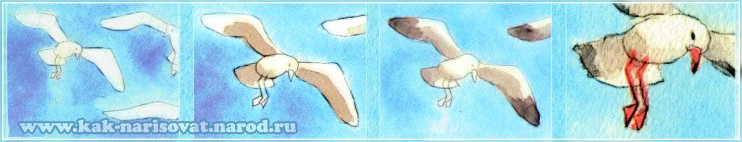 картинка с нарисованными птицами в полете
