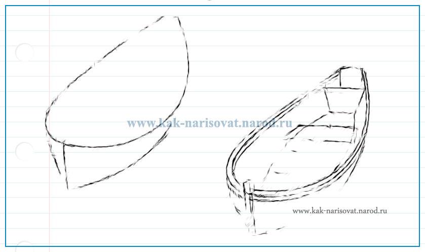 поэтапное рисование лодки (пошаговое)