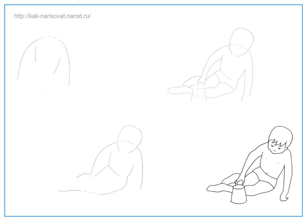 Как рисовать ребенка карандашом поэтапно - пример нарисованного ребенка в картинках