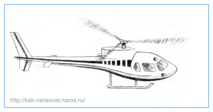 Учимся рисовать вертолеты - примеры карандашных рисунков