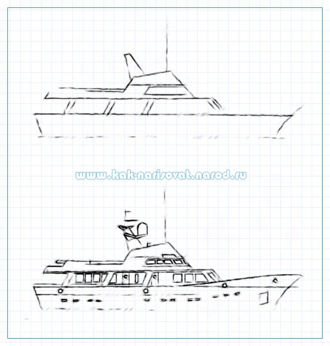 Учимся рисовать корабль карандашом
