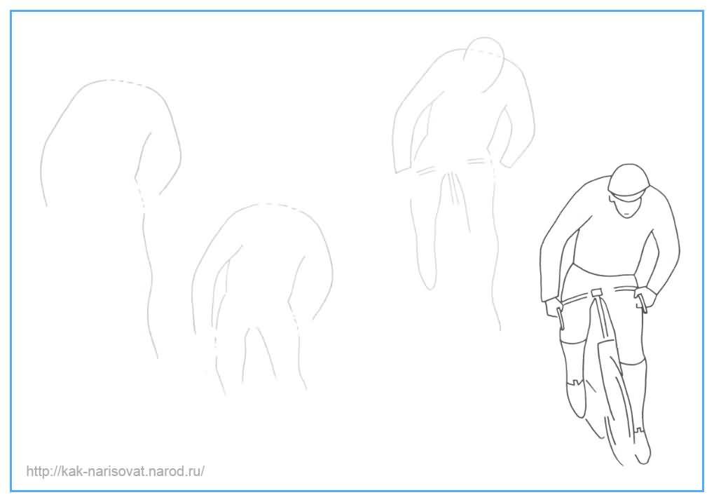 Как нарисовать человека на велосипеде поэтапно