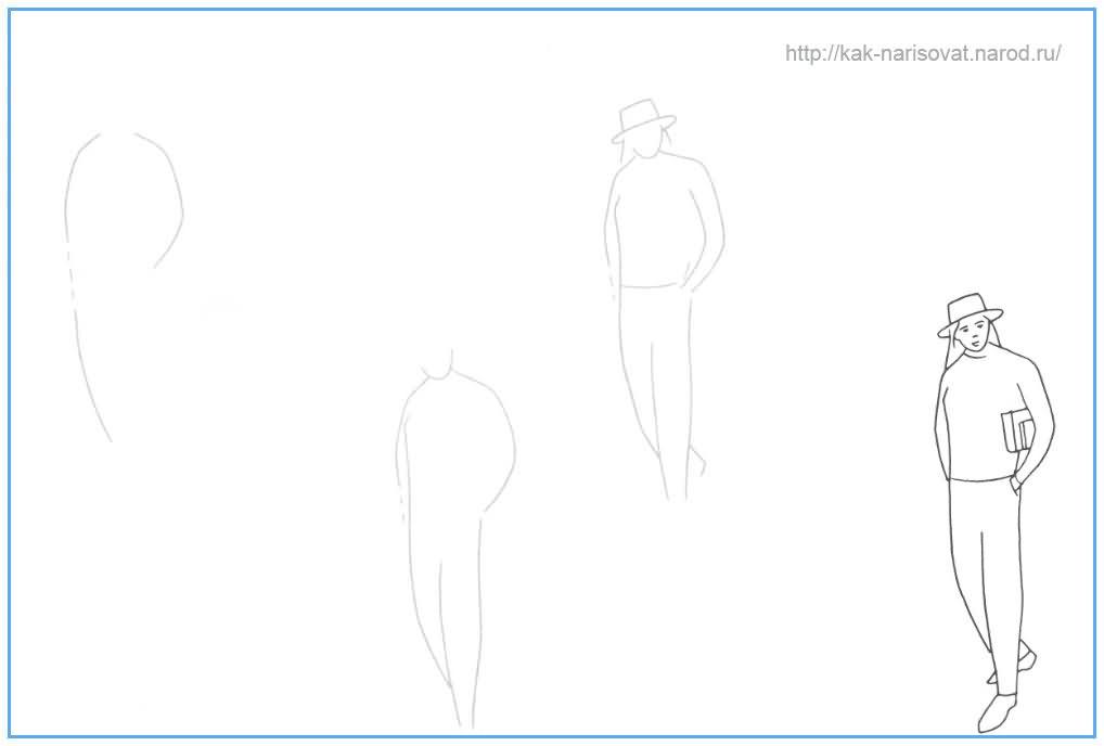 Учимся рисовать человека  (студента) карандашом поэтапно