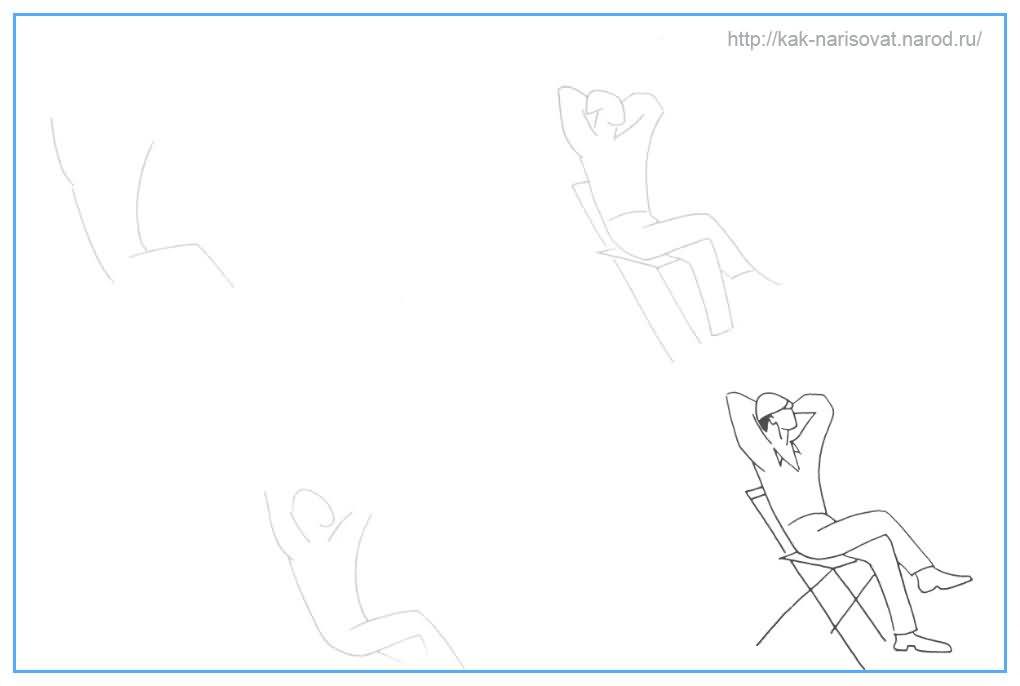 Учимся рисовать фигуру человека - нарисованный пример в картинках