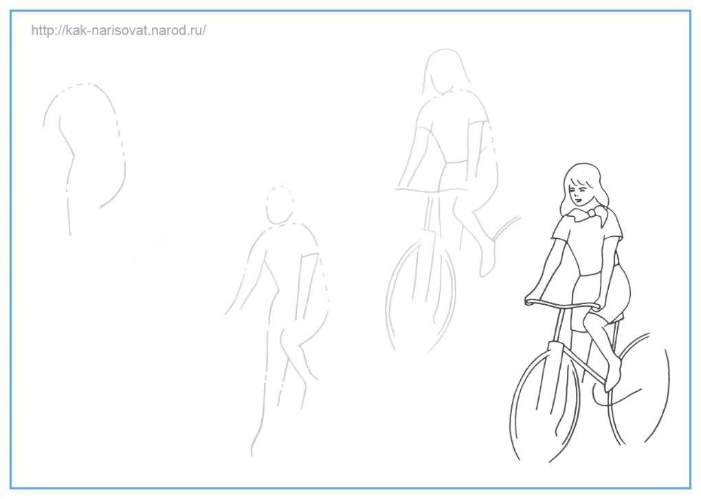 Как рисовать девушку на велосипеде - пример в картинках